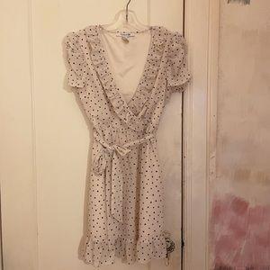 Forever 21 Heart Polka Dot White Wrap Dress M